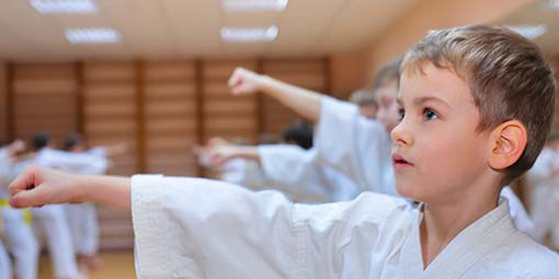 image of child focusing during self defense classes for kids in Madison, WI