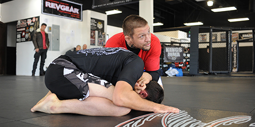 image showing mma madison instructor showing no gi bjj choke